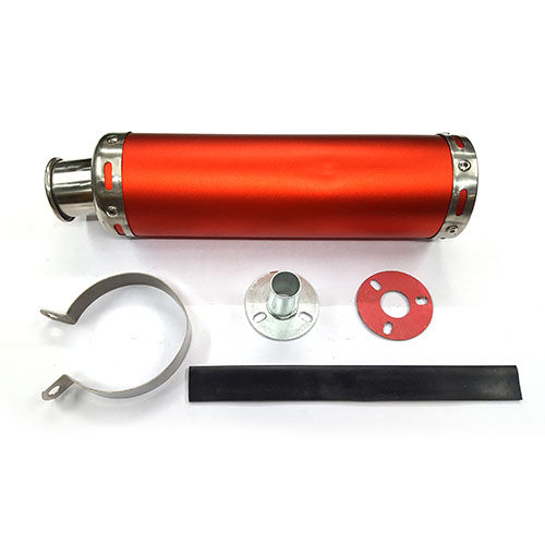 Speedy Riders Monster Round Racing Exhaust Silencer With DB Killer Red Color For Bikes