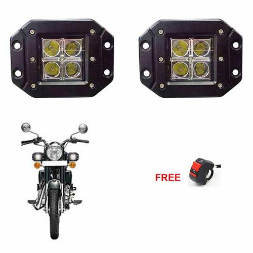 Speedy riders Pair 4 Led Square 20 Watts Fog Light / Work Light Bar Spot Beam Off Road Driving Lamp With ON/OFF Switch Free for All Bikes