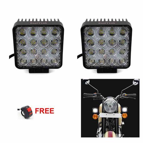 Speedy riders Pair Flood Light 4x4 Flood 60 Degree Work Light (48W) Fog Light / Work Light Bar Spot Beam Off Road Driving Lamp With ON/OFF Switch Free for All Bikes