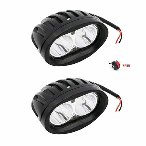Speedy riders Pair White Auxillary Cree 20 Watts Fog Light / Work Light Bar Spot Beam Off Road Driving Lamp With ON/OFF Switch Free for All bikes