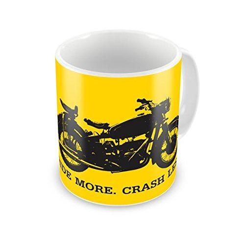 Speedy Riders Printed Customized Ceramic Tea And Coffee Mug 350 ML Yellow & White Dual Tone Color