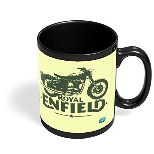 Speedy Riders Printed Customized Ceramic Tea And Coffee Mug 350 ML Cream & Black Dual Tone Color