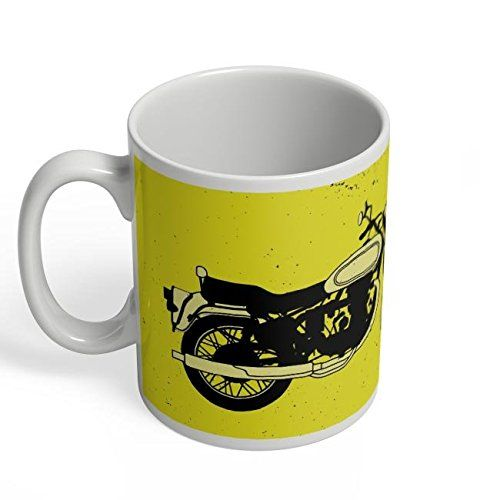 Speedy Riders Printed Customized Ceramic Tea And Coffee Mug 350 ML Yellow & White Dual Tone Color