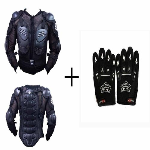 Speedy Riders Combo Offers Fox Riding Gear Body Armor Jacket For Bike Protective Jacket + Knighthood Gloves (Free Size) for All Bikes