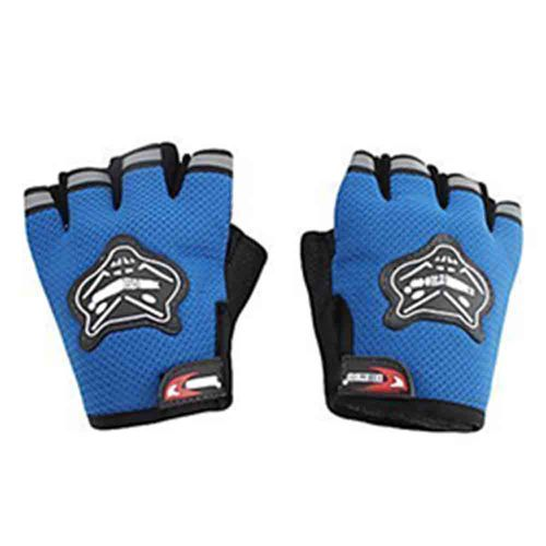 Speedy Riders Knighthood 1 Pair of HALF Hand Grip Gloves for Bike Motorcycle Scooter Riding - Blue Colour