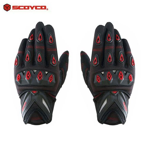 Speedy Riders Scoyco MC10 Full Finger Armoured Motorcycle Riding Gloves Black and Red Color