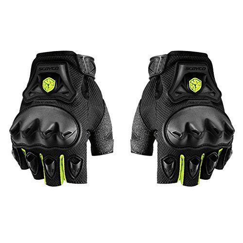 Speedy Riders Scoyco MC29D Bike Riding Half Finger Gloves Set of 2 Black and Neon Color