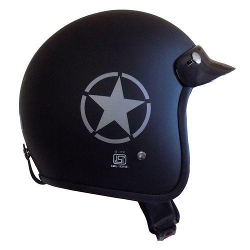 Speedy Riders ISI Certified Guardian Open Face Helmet Matte Black Color