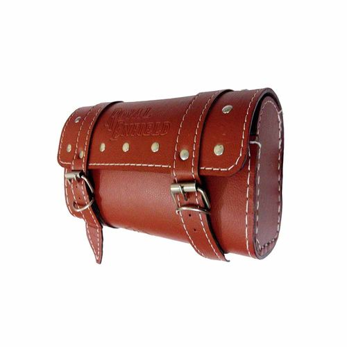 Speedy Riders Square Saddle Bag With Fancy Button For Royal Enfield Brown