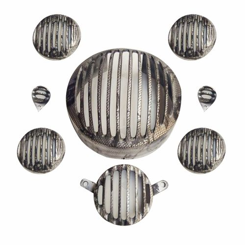 Speedy Riders Printed Black Headlight Grill Complete Set of 8 For Royal Enfield