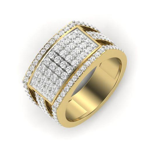 Kasturidiamond 18Kt Yellow Gold Diamond Mens Rings