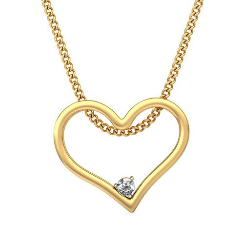 Amantran 14Kt Yellow Gold Diamond Heart Design Pendant