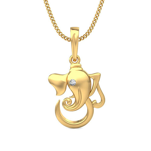 Amantran 14Kt Yellow Gold Diamond Religious Pendant