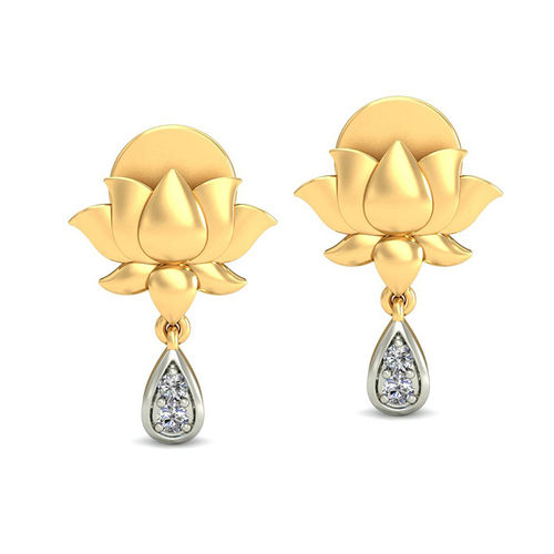 Amantran 14Kt Yellow Gold Diamond Lotus Shape Drop Earrings