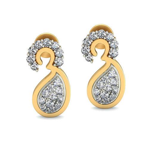 Amantran 14Kt Yellow Gold Diamond Om Shape Drop Earrings