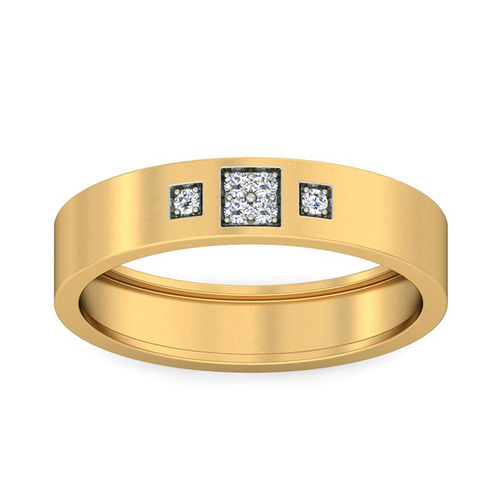Amantran 14Kt Yellow Gold Diamond Mens Ring