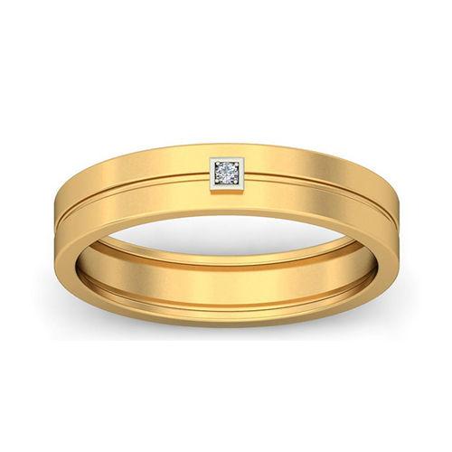 Amantran 14Kt Yellow Gold Diamond Mens Ring