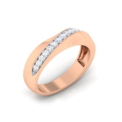 Amantran 14Kt Rose Gold Diamond Couple Band Ring