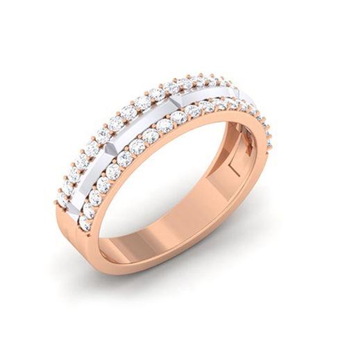 Amantran 14Kt Rose Gold Diamond Couple Band Ring