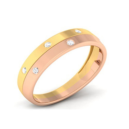 Amantran 14Kt Yellow Gold Diamond Couple Band Ring