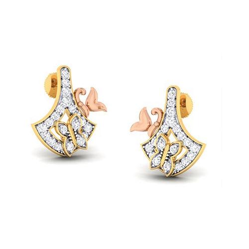 Amantran 14Kt Yellow Gold Diamond Drop Earrings