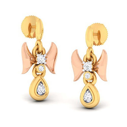 Amantran 14Kt Yellow Gold Diamond Drop Earrings