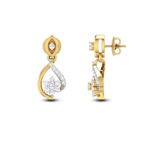 Amantran 14Kt Yellow Gold Diamond Stud Earrings