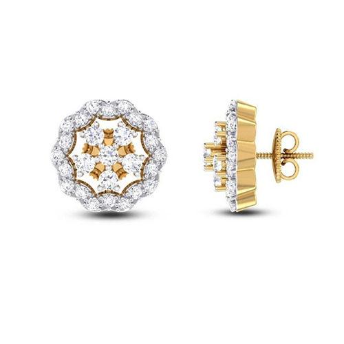 Amantran 14Kt Yellow Gold Diamond Stud Earrings