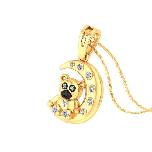 Amantran 14Kt Yellow Gold Diamond Bear Shape Baby Pendant