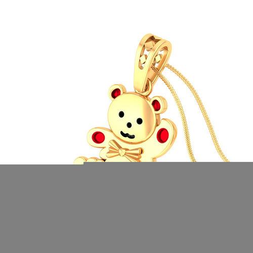 Amantran 14Kt Yellow Gold Diamond Teddy Shape Baby Pendant