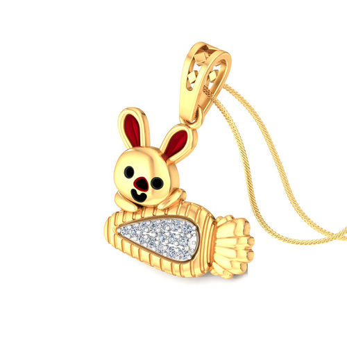Amantran 14Kt Yellow Gold Diamond Rabbit Shape Baby Pendant