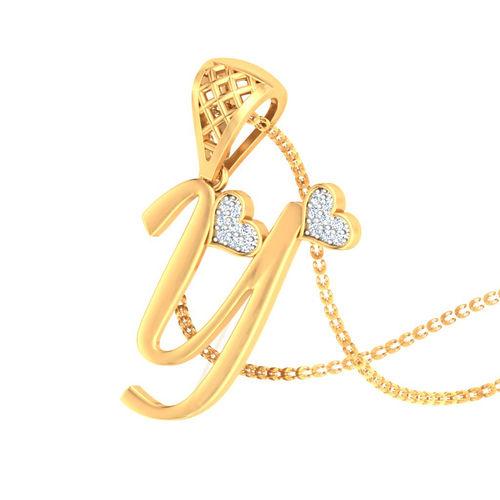 Amantran 14Kt Yellow Gold Diamond Alphabet Y Pendant