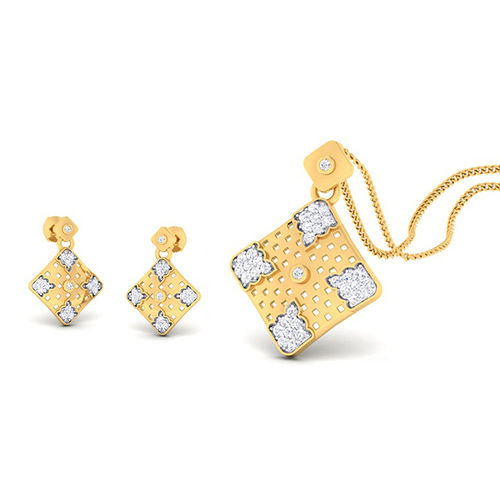 Amantran 14Kt Yellow Gold Diamond Pendant With Two Earrings