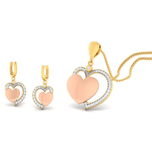 Amantran 14Kt Yellow Gold Diamond Heart Shape Pendant With Two Earrings