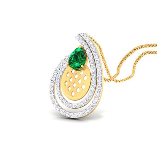 Amantran 14Kt Yellow Gold Diamond With Color Stone Casual Pendant