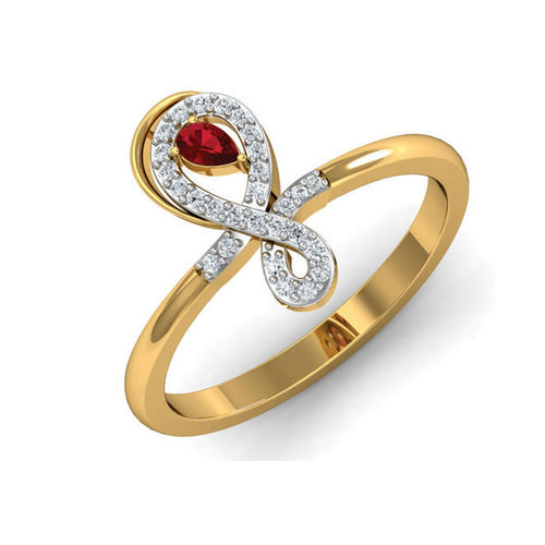 Amantran 14Kt Yellow Gold Diamond Casual Ring With Color Stone