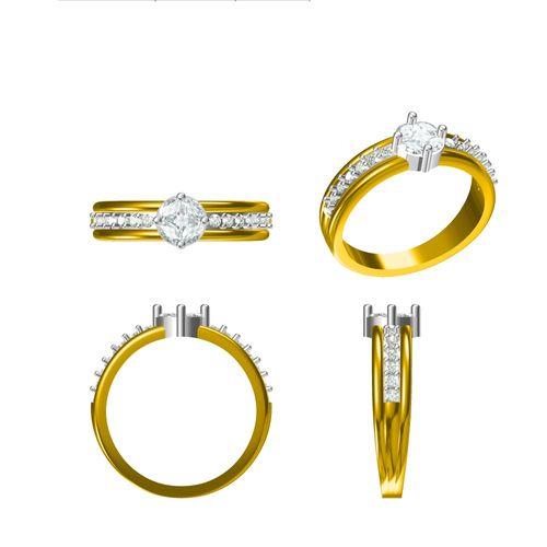 Rushabh Jewels 18Kt Yellow Gold Diamond Engagement Ring