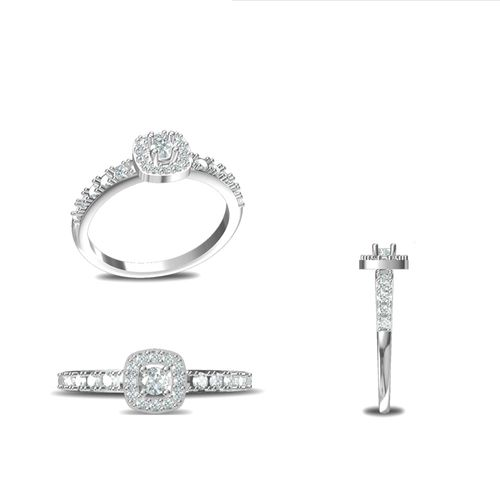 Rushabh Jewels 18Kt White Gold Diamond Engagement Ring