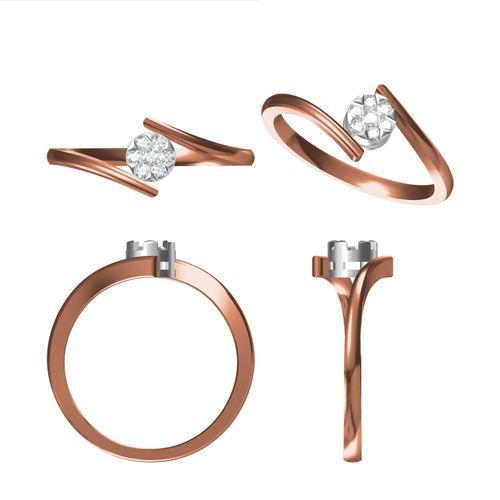 Rushabh Jewels 18Kt Rose Gold Diamond Ring