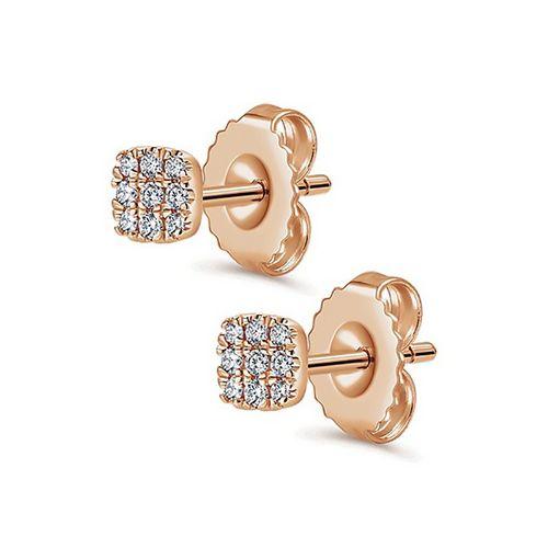 Ornaz 18Kt Rose Gold Diamond LUCIAN Stud Earrings