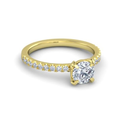 Ornaz 14Kt Yellow Gold Diamond Reza Solitaire Ring
