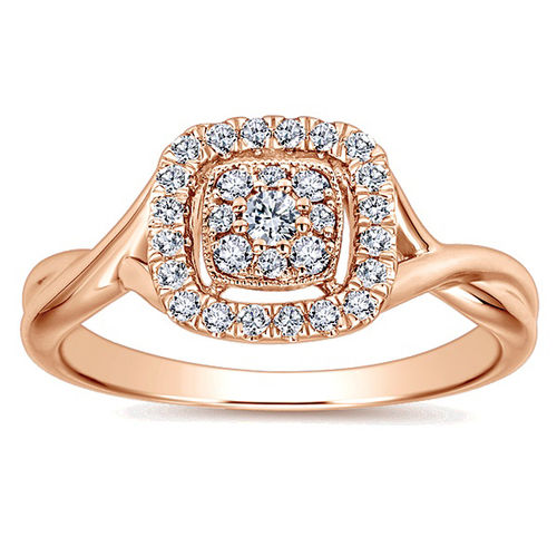 Ornaz 14Kt Rose Gold Diamond Amary Ring