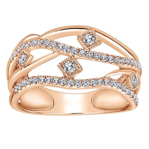 Ornaz 14Kt Rose Gold Diamond Yste Ring
