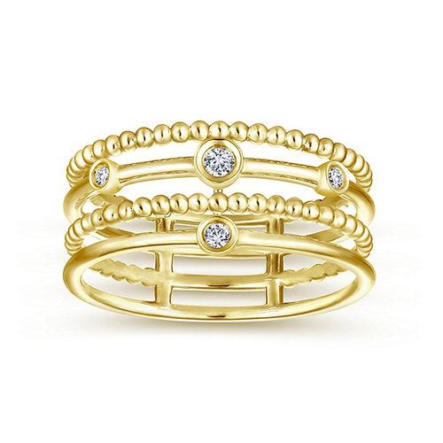 Ornaz 14Kt Yellow Gold Diamond Begon Ring