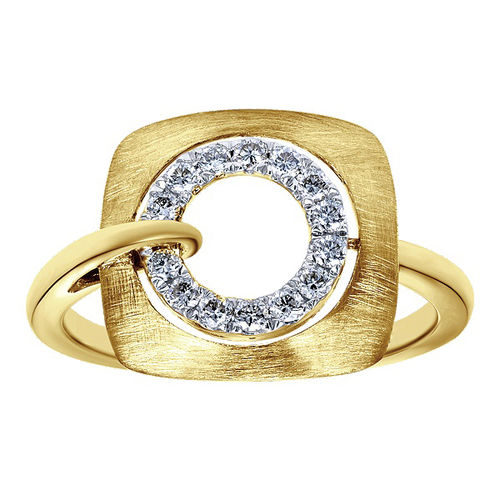 Ornaz 14Kt Yellow Gold Diamond Belium Ring