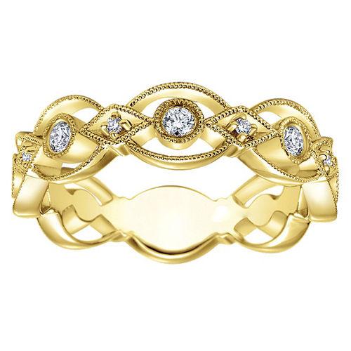 Ornaz 14Kt Yellow Gold Diamond Qulia Band