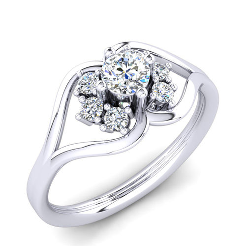 Ornaz 14Kt White Gold Diamond Lavem Solitaire Ring