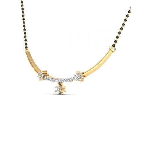 Ornaz 14Kt Yellow Gold Diamond Archa Mangalsutra