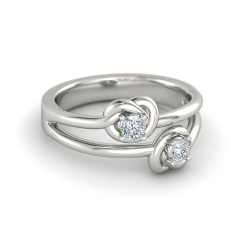 Ornaz 14Kt White Gold Diamond Farfett Ring