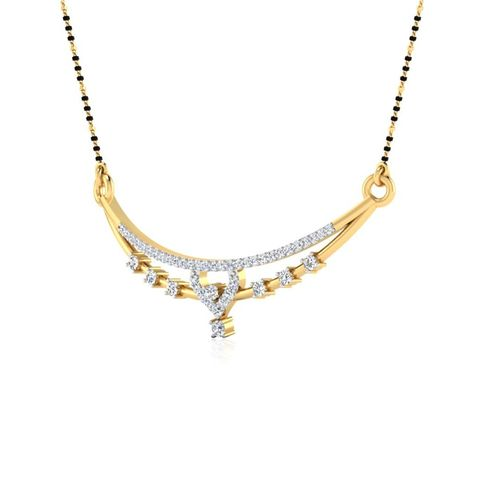 Ornaz 14Kt Yellow Gold Diamond Amena Mangalsutra